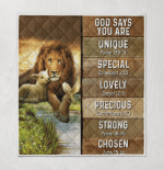 God Says You Are Lion & Lamb 413 Quilt Blanket