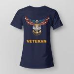 United States Navy American Eagle Veteran Back Ladies T-shirt