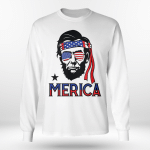 Merica - Funny Abe 4th of July American Long Sleeve Tee