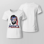 Merica - Funny Abe 4th of July American Ladies T-shirt