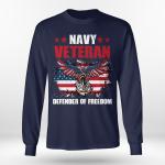 Navy veteran defender of freedom gift ideas for veterans long sleeve tee