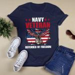 Navy veteran defender of freedom gift ideas for veterans T-shirt