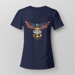 United States Navy American Eagle Back Ladies T-shirt