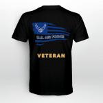 Air Force Veteran Horizontal USA  American Flag Back T-shirt