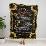 To My Daughter Sunflower 316 Fleece Blanket