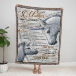To My Mom Blanket, Mothers Day Gift, Couple Horses 318 Fleece Blanket