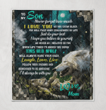 Wolf Son, Love Mom Quilt Blanket 057