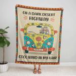 Hippie - On A Dark Desert Highway Fleece Blanket 328