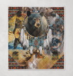 Bear Native American Quilt Blanket 329