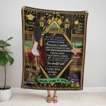 Mom To Daughter Senior 2021 - Black Girl 335 Fleece Blanket
