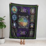 Wicca Fire - Earth - Water - Air Fleece Blanket 042