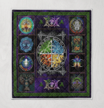 Wicca Fire - Earth - Water - Air Quilt Blanket 042