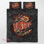 Firefighter Courage Fire Honor Rescue Quilt Bed Set 340