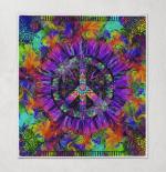 Purple Flower Hippie Quilt Blanket 344
