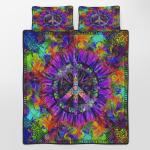 Purple Flower Hippie Quilt Bed Set 344