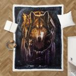 Native American Wolf 347 Sherpa Blanket