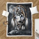 Native American Wolf 346 Sherpa Blanket