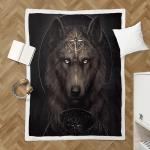 Native American Wolf 348 Sherpa Blanket