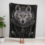 Native American Wolf 349 Fleece Blanket