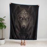 Native American Wolf 348 Fleece Blanket