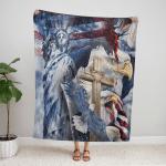 One Nation Under God American Patriotism Eagle 255 Fleece Blanket