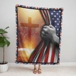 God - Bible With Bright Cross 143 Fleece Blanket