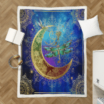 Wicca Native Dragonfly And Moon 407 Sherpa Blanket