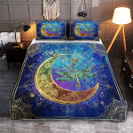 Wicca Native Dragonfly And Moon 407 Quilt Bed Set