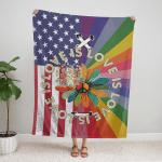 Love Is Love Pride Hippie American 409 Fleece Blanket