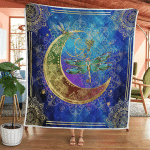Wicca Dragonfly And Moon 407 Quilt Blanket