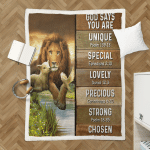 God Says You Are Lion & Lamb 413 Sherpa Blanket