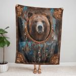 Native American Bear 426 Fleece Blanket