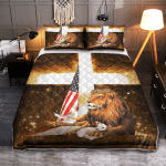 Lion Cross Lamb American 431 Quilt Bed Set