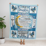 Mom To Daughter, With Brave Wings She Flies, Butterfly 053 Fleece Blanket