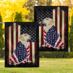 Yellow Labrador Retriever American Patriot 07 Flag