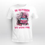 BC - In october we wear pink school bus pumpkin zombie hand T shirt