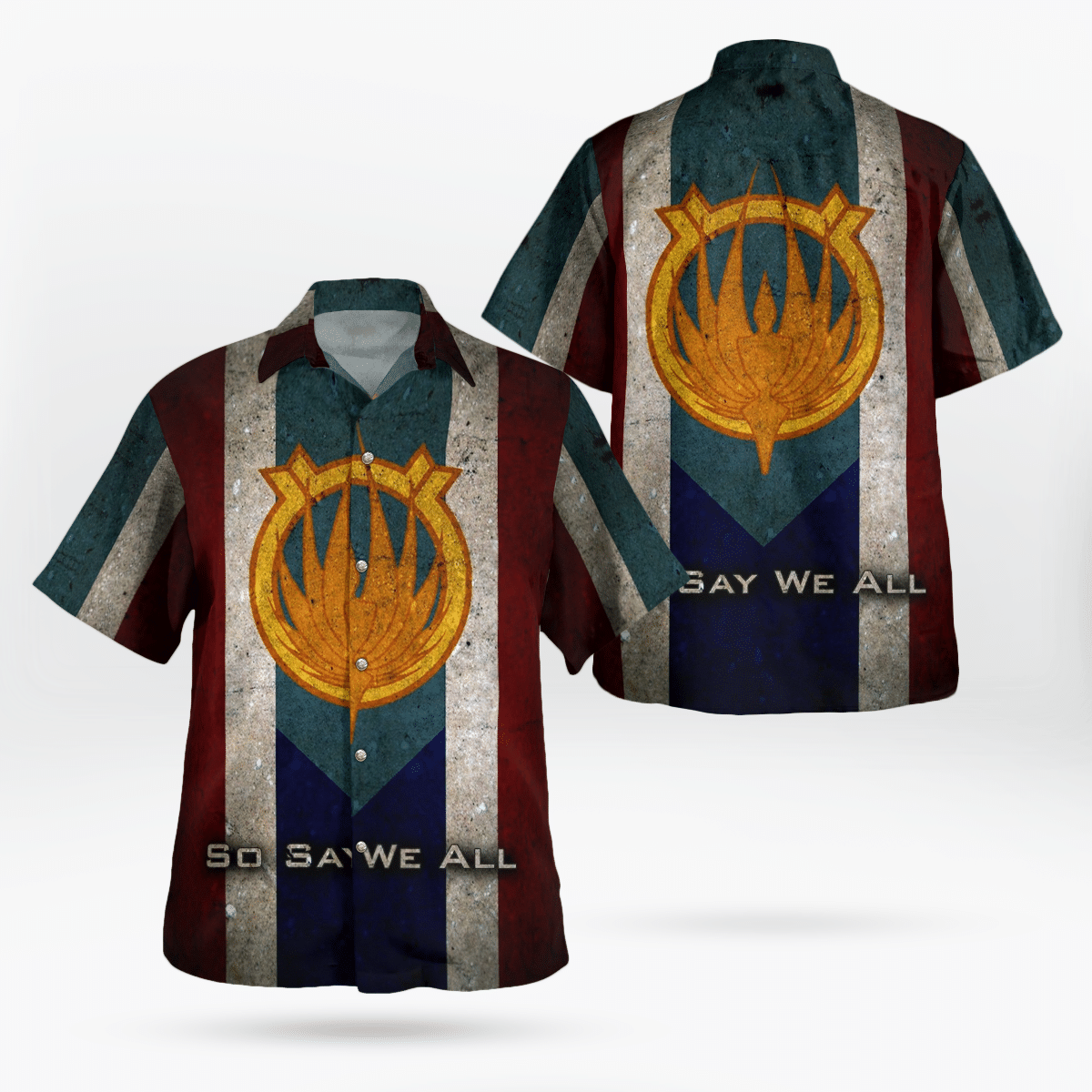 Battlestar Logo So say we all Hawaiian Shirt