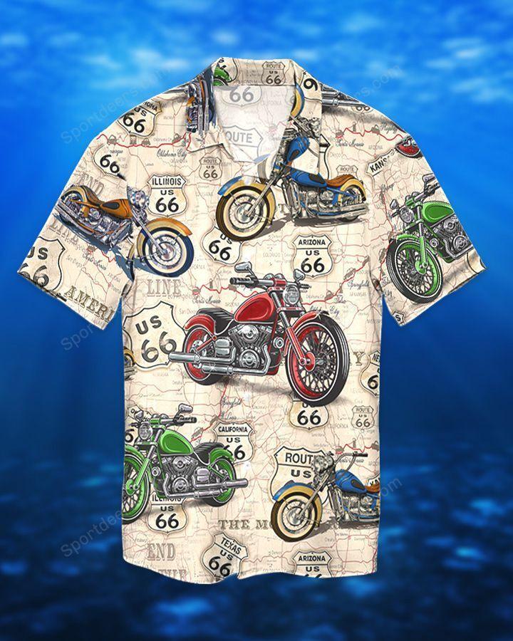 MOTOCYCLE ROUTE 66 TEXAS HAWAIIAN SHIRT