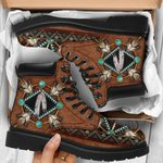 NATIVE BROWN BLUE PATTERN ALL SEASON BOOTS