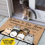 Cat Friends welcom to our home 1 Doormat