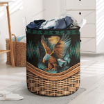 Native American Feather Bald Eagle Printed Laundry Basket