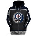 "GDWJ100 - ""Grateful Winnipeg Jets"" Zip Hoodie - Personalized Name & Number"