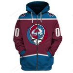 """GDCA300 - """"Grateful Colorado Avalanche"""" Zip Hoodie - Personalized Name & Number"""