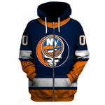 """GDNYI100 - """"Grateful New York Islanders"""" Zip Hoodie - Personalized Name & Number"""