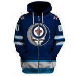"GDWJ200 - ""Grateful Winnipeg Jets"" Zip Hoodie - Personalized Name & Number"
