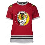 """GDCB200 - """"Grateful Chicago Blackhawks"""" T-Shirt - Personalized Name & Number"""