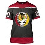 """GDCB100 - """"Grateful Chicago Blackhawks"""" T-Shirt - Personalized Name & Number"""