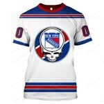 """GDNYR200 - """"Grateful New York Rangers"""" T-Shirt - Personalized Name & Number"""