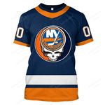 """GDNYI100 - """"Grateful New York Islanders"""" T-Shirt - Personalized Name & Number"""