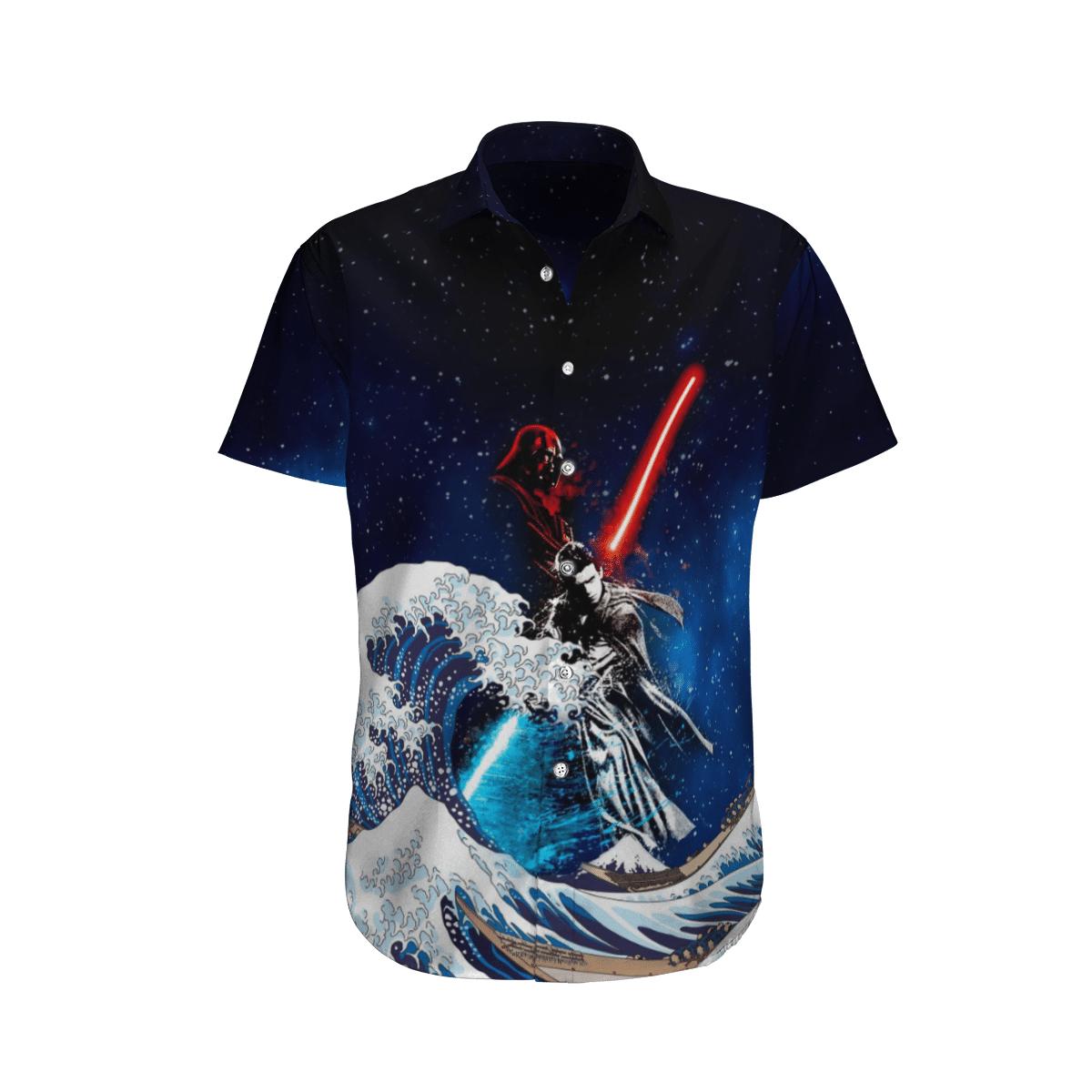 Star wars Battle Darth Vader and Luke Skywalker Waves Hawaiian Shirt